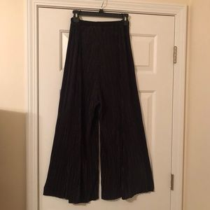 H&M - Pleated Glossy Black Trousers